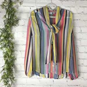 NY&C Candy Stripe Bow Button Up Blouse XL
